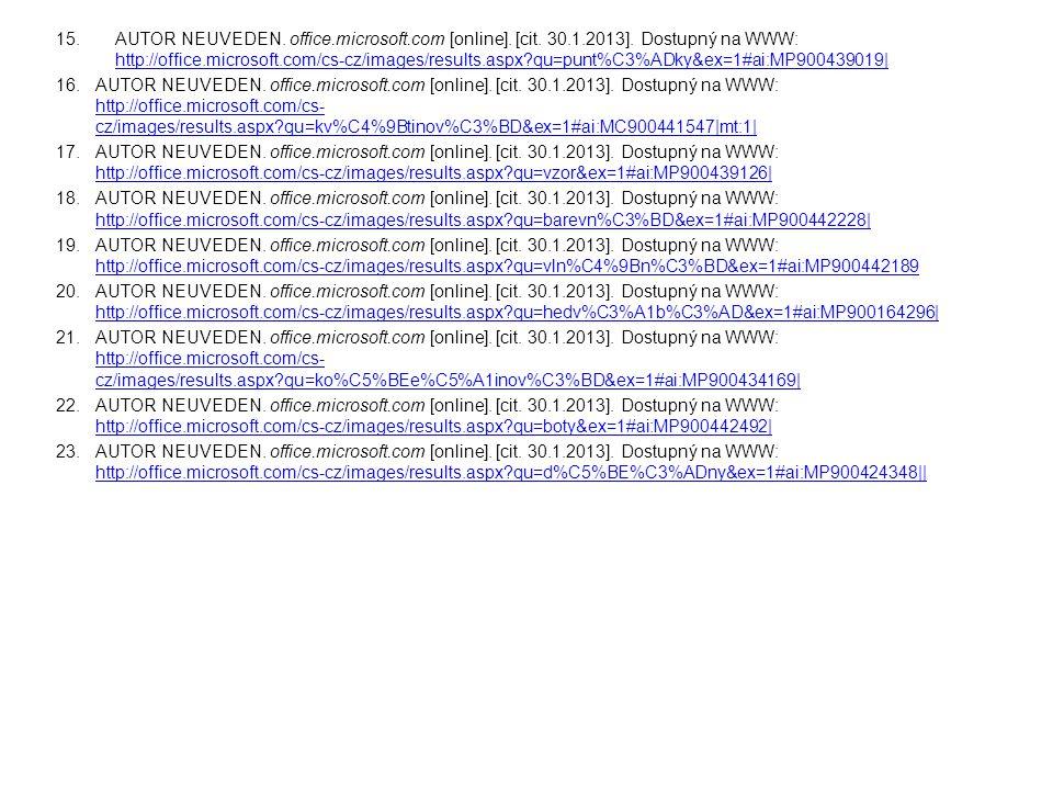 AUTOR NEUVEDEN. office. microsoft. com [online]. [cit. 30. 1. 2013]